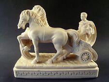 A. GIANNETTI Italy ROMAN GLADIATOR Chariot HORSES Greek Key RESIN SCULPTURE Mint