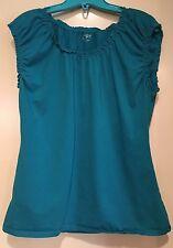 Ann Taylor LOFT BLUE Baby Doll Top Size XL Sleeveless     ct3