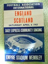 1963 Song Sheet- ENGLAND v SCOTLAND Daily Express Community Singing, 6th April