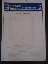 Tottenham Hotspur Reserves v Chelsea Reserves 1986-87 Official Footbal Programme