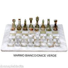 Scacchiera con Scacchi Intarsi Marmo Bianco Onice Verde Marble Chess Set 40x40cm