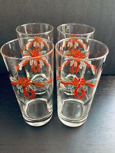 "Fine China of China, Poinsettia & Ribbons 6 1/4"" Glassware Tumbler. Set of 8."