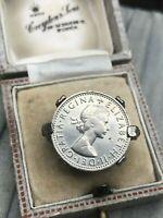 Coin Signet Ring Silver Tone Queen Elizabeth II Vintage Jewellery UK Size K