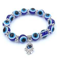 Turkish Blue Evil Eye Hamsa Hand Amulet 8mm Beading Blessing Bracelet Gift *