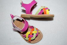 Baby Girls Shoes PINK ORANGE YELLOW GREEN Glossy WOVEN SANDALS Size 1 (3-6 MO)