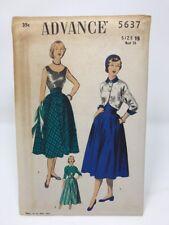 Vintage Advance Sewing Pattern Blouse Skirt Bolero Jacket 5637 Size 15 NOS FF UC
