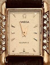 Vintage•18K Gold•24 Diamond•Ladies OMEGA Tank Watch•Cleaned•Serviced WORKS PrFcT