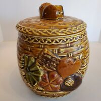 Vintage Napco Ware Japan Cookie Jar Basket Weave Brown Ceramic Sweets 7x8