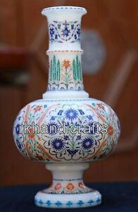 9 Inches White Flower Pot Marble Inlay Stone Flower Vase with Pietra Dura Art