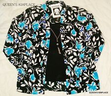 Nwt Notations Women's S Small Blue Black Floral Necklace Blouse Twin Shirt Top
