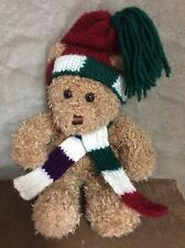 Winter Holiday Snow Teddy Bear HAT & STRIPED SCARF Plush Toy LORD & TAYLOR 13""