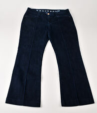 Earnest Sewn Grace Pintuck Boot Cut Leg Dark Wash Denim Blue Jean Size 32x27