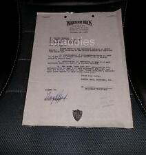 GEORGE PEPPARD THE THIRD DAY Warner Bros Signed Deal Memo Changes 1964