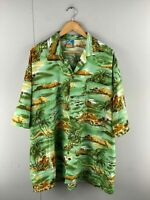 True Face Mens Green Vintage Short Sleeve Hawaiian Button Up Shirt Size 3XL