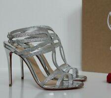 New sz 9.5 / 40 Christian Louboutin Renee Strappy Silver Glitter Sandal Shoes