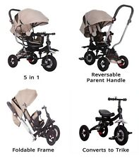 Little Bambino 5 IN 1 Tricycle Stroller Kids Children Baby Toddlers Trike -Khaki