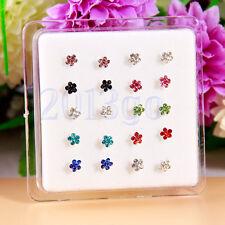 20 Multicolor Gem Flower 316L Nose Ring Display 22g Studs YG