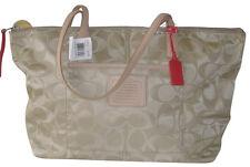 NWT Coach Womens Gold Weekend East/West Zip Top Tote Handbag Shoulder Bag Purse