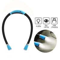 USB Rechargeable Neck Light 4 LEDs Book Light for Reading in Bed/Jogging/Walking