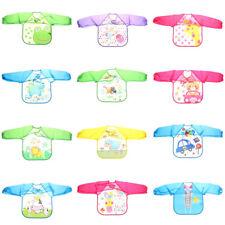 Adjustable Cartoon Plastic Waterproof Long Sleeve Feeding Baby  Apron Clothing F
