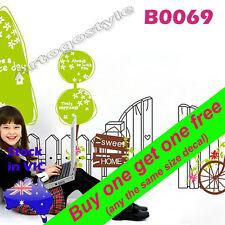 Wall Decal Sticker Sweet decor Home Fence Bike Tree Nursery childcare Room B0069