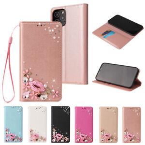 Bling Blume Flip Wallet Handy Schutzhüllen Für Samsung A32 A52 A12 A02S A40 A21S
