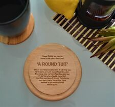 a Round Tuit Wooden Coaster Present House Rustic Funny Home Gift