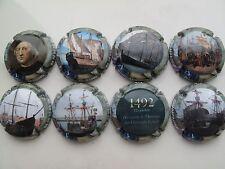 Série de  8 New capsules de champagne  Bruno ARMAND, Christophe Colomb