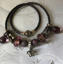 Pandora Double Braided Leather Bracelet with Charms Set