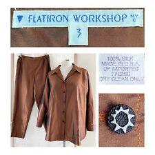 FLATIRON WORKSHOP NYC 3 Women's Large Copper Silk Satin Oversized Shirt EUC