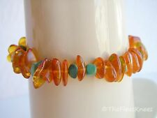 AMBER & TURQUOISE BRACELET with Sterling Silver Clasp
