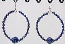 """Crystal beaded earrings super big 2.25"""" door knocker dangling sparkly hoops"""