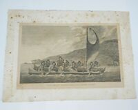 Antique Engraving A Canoe of the Sandwich Islands the Rowers Masked Webber