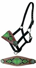 Showman Leather Bronc Nose Halter W/ LIME Beaded Cross Design! NEW HORSE TACK!