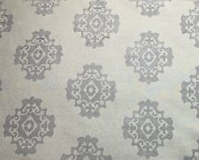 Barrow Cream and Grey Tribal Scroll Chenille Jacquard Upholstery Fabric 2.75 Yds