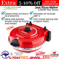 Electric Pizza Maker 1200W Baking Machine Oven Hot Stone Ceramic Deep Dish Red