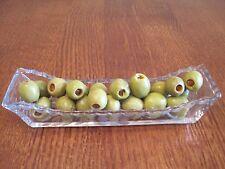Vintage Glass Olive serving boat Cut Floral design on bottom and all edges GUC