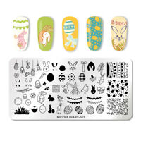 NICOLE DIARY Nagel Schablone Nail Art Stamping Plates Rectangle Easter Day 042