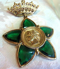 VINTAGE GOLDPLATED CROWN AND GREEN POURED GLASS STAR MYTHICAL GOD BROOCH FAB!