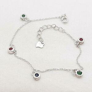 World Class .20ctw Emerald, Ruby & Sapphire 925 Sterling Silver Bracelet