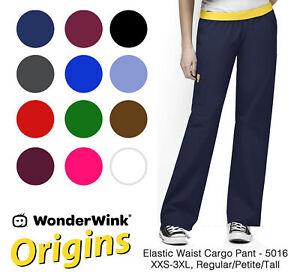 Origins Womens Quebec 5016 Elastic Waist Cargo Pant by WonderWink-NEW-FREE SHIP
