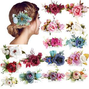 Ladies Flower Hair Clips Slide Pins Comb Wedding Hair Barrette Accessories Party