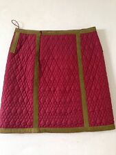 ALBERTA FERRETTI Italy Retro Quilted Nylon Leather Trim Skirt NWT $638 M 8 44