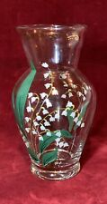 Antique Vintage Clear Glass Hand Painted Vase Signed S.C. 7 1/4 Inches Tall 🌿�