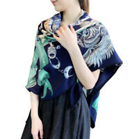 70% Cashmere 30% Silk Thin Scarf Double-sided Rudder Print Pashmina Shawl 135cm