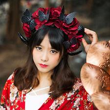Lolita Black Ram Horn Goat Cosplay Headband Veil Costume party Goth Handmade