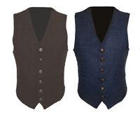 Mens Wool Tweed Slim Suit Formal Fitted Vest  Brown Navy Blue Classic Waistcoat