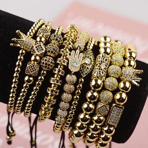 Luxury Men Women Zircon Demon Eye Hand Crown Braiding Copper Bead Bracelets Gift