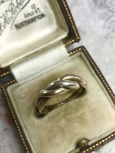 Vintage 9ct 3 Colour Gold Twist Band Ring Size L1/2