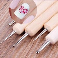 5tlg 2 Weise Dotting Pen Holz Handled Nail Art Werkzeug Punktierung Stift